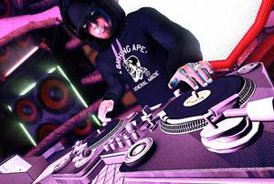 Shadow's character in the <em>DJ Hero</em>game, glowing eyes and all.