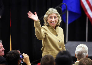 Rep. Dina Titus, D-NV, waves as she is introduced during a campaign rally for Senate Majority Leader Harry Reid at Valley High School Tuesday, October 12, 2010.