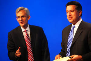 Nevada Governor candidates Rory Reid (left) and Brian Sandoval debate during their last and final debate at the PBS building in Las Vegas Thursday, October 7, 2010.