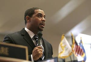 Senate Majority Leader Steven Horsford delivers a speech in which he calls for corporations to pay their fair share on Day Four of the special legislative session Friday, Feb. 26, 2010 in Carson City.