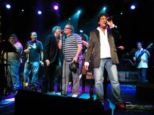 Comedian Drew Carey, center, joined the Lon Bronson All-Star band onstage Aug. 27, 2009, at Ovation Lounge in Green Valley Ranch.