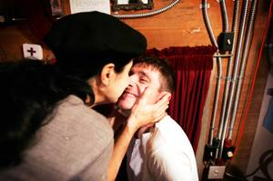 "Vadim Bolotsky and Sandy Scheller wish each other a good show before performing in ""If These Walls Could Talk"" at the Amargosa Opera House in Death Valley Junction, Ca. Saturday, November 13, 2010."
