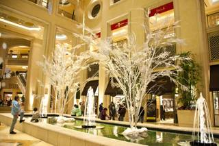 The Palazzo Waterfall Atrium put on their woodland-inspired holiday display with snowflakes, frosted Birch trees, ornaments and fresh poinsettias , Friday Dec 17th 2010.