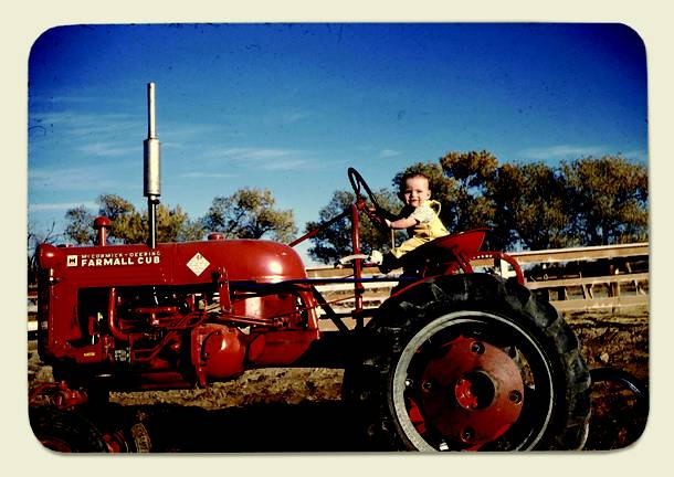 Garre Mathis on his family tractor ins 1948