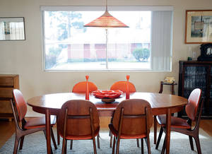 Danish modern dining table and chairs at the Las Vegas home of Bill Johnson, the owner of Retro Vegas, Monday, February 21, 2011.