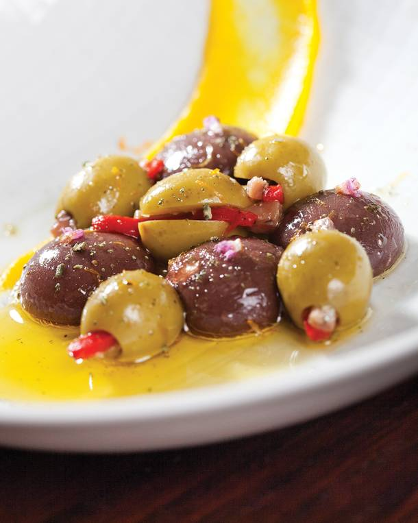 Olives Ferran Adria, a molecular creation made by dropping olive puree into an alginate bath.