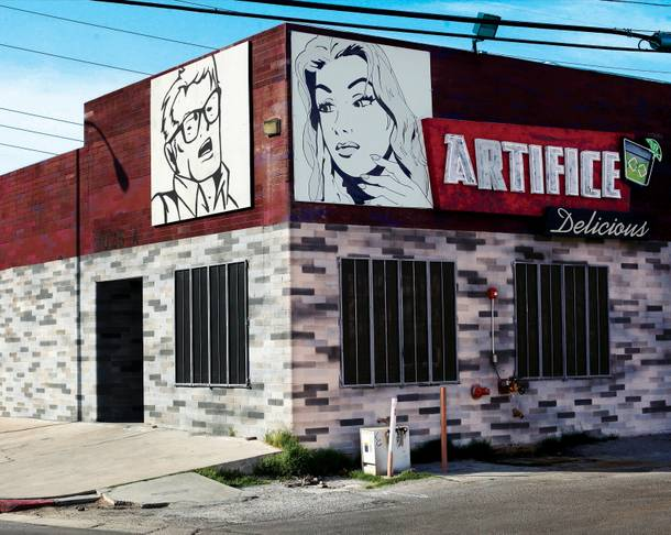 Juan Muniz murals are featured on the outside of Artifice.