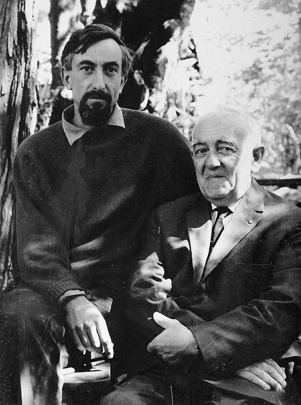 Marcel Barel with his father, Elvezio, in a photo taken by Ansel Adams while Barel was working for the photographer in Carmel, California.