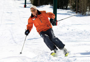 Las Vegas Ski and Snowboard Resort's most famous instructor takes a run on March 25, 2011.