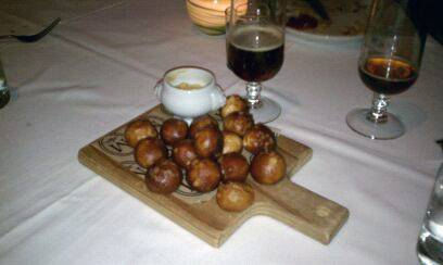 Pretzel balls and spicy dijon mustard