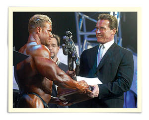 California Gov. Arnold Schwarzenegger presents the Arnold Classic winner's trophy to bodybuilder Jay Cutler, left, in Columbus, Ohio, Saturday, March 6, 2004, during The Arnold Fitness Weekend, an annual bodybuilding and fitness expo held in Columbus since 1989.