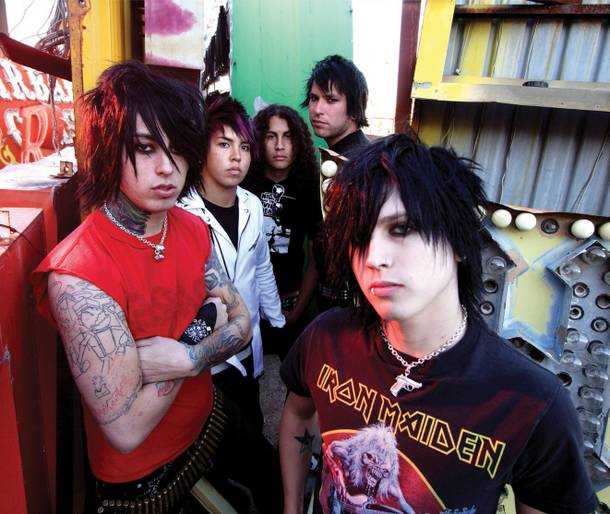 Ronnie Radke (front left) and his former Escape the Fate mates, back when they were on speaking terms.