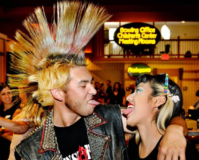 James Privett and Audri Reneria show just how much they like each other during Punk Rock Bowling at Sam's Town.