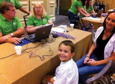 Sounds so sweet: Toby Grizzle was fitted for a free pair of Starkey hearing aids last week at the Hilton.