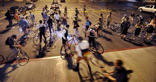 Bicycle Prom attendees leave the UNLV campus for Artifice.