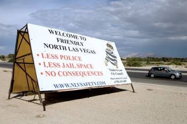 Just one of the billboards erected by the NLV Police Officers Association.