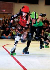 Roll on: You do not want to mess with the derby girls.