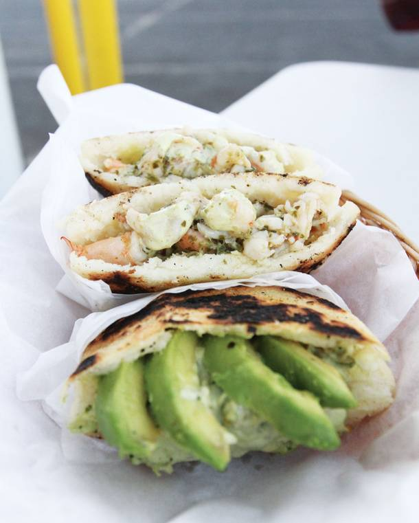 From the cold menu, chicken and avocado and garlicky shrimp arepas.