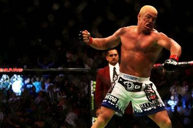 Tito Ortiz celebrates after beating Ryan Bader by submission in their bout at UFC 132 Saturday at the MGM Grand Garden Arena. Ortiz snapped a near five-year winless streak with the win.