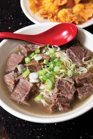 The beef and scallion ramen bowl at Big Wong.