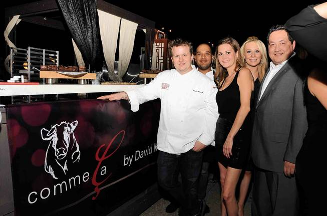 Comme Ca Executive Chef Brian Howard, Aldo Bravo, Kallie Wickel, Tony Fisher and LeAnne Douglas at Epicurean Charitable Foundation's fundraiser M.E.N.U.S. at M Resort on Sept. 30, 2011.