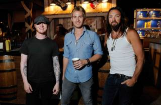Drummer Ron Woolstenhulme Jr., frontman Jason Wade and guitarist Ben Carey of Lifehouse at Epicurean Charitable Foundation's fundraiser M.E.N.U.S. at M Resort on Sept. 30, 2011.
