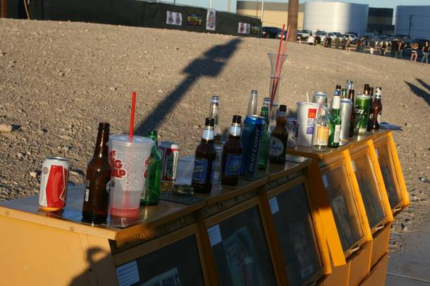 Beer bottles line the entrance to the Rockstar 48 Hours Festival at the Luxor Festival Grounds on Saturday October 15, 2011.