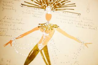 A costume drawing by Jerry Jackson, choreographer and director of Folies Bergere at the Tropicana, part of UNLV Special Collections in Las Vegas Friday November 11, 2011.