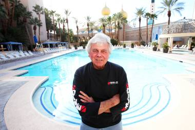 Comedian Cork Proctor in front of the pool at the Sahara on March 11, 2011, the same day the property announced that it would be closing.
