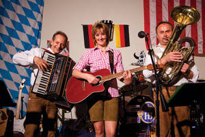 Trio Musischwung entertains at the Bavarian beer house.