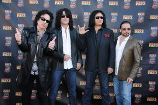 Paul Stanley, Tommy Thayer, Gene Simmons and Eric Singer of KISS at the KISS by Monster Mini Golf grand opening Thursday, March 15, 2012.