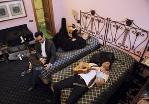 "Statosphere headliner Frankie Moreno and his brothers Ricky and Tony develop lyrics for the song ""Mine"" from their hotel room in Florence."