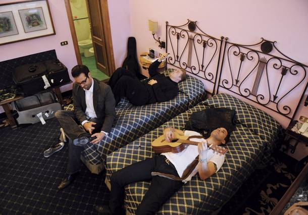 Statosphere headliner Frankie Moreno and his brothers Ricky and Tony develop lyrics for the song