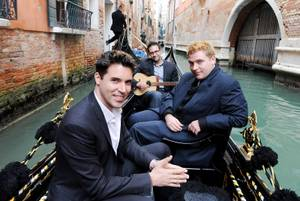 "Stratosphere headliner Frankie Moreno and his brothers Ricky and Tony take a gondola ride through Venice while singing ""Missin' You."""