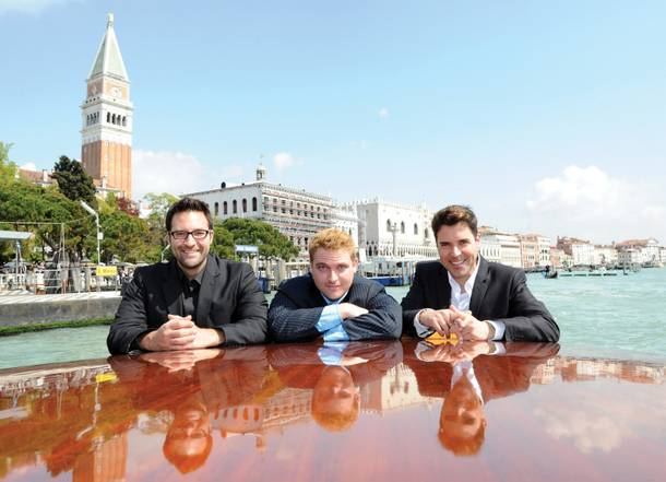 Strip headliner Frankie Moreno, right, with his brothers Tony, left and Ricky take a water cab through Grand Canal in Venice.
