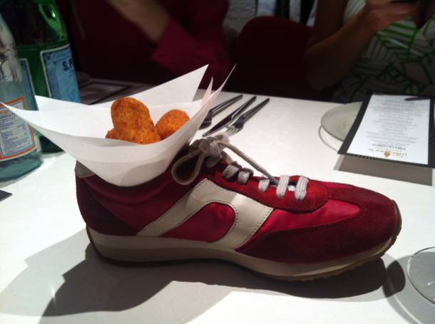 Jaleo's chicken croquetas ... in a shoe