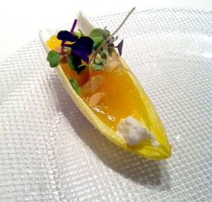 Jose Andres' endive with oranges, goat cheese, almonds.
