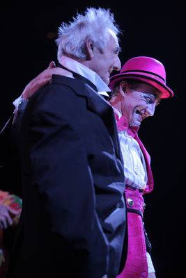 "Nicholas Dewhurst, right, wishes ""Happy Birthday"" to his 80-year-old father, Brian, after the second performance of ""Mystere"" at Treasure Island on Tuesday, May 22, 2012."