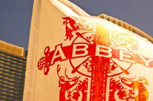 A flag from the venue when it took over the Vdara pool deck for its pop-up pool club, Abbey Beach.