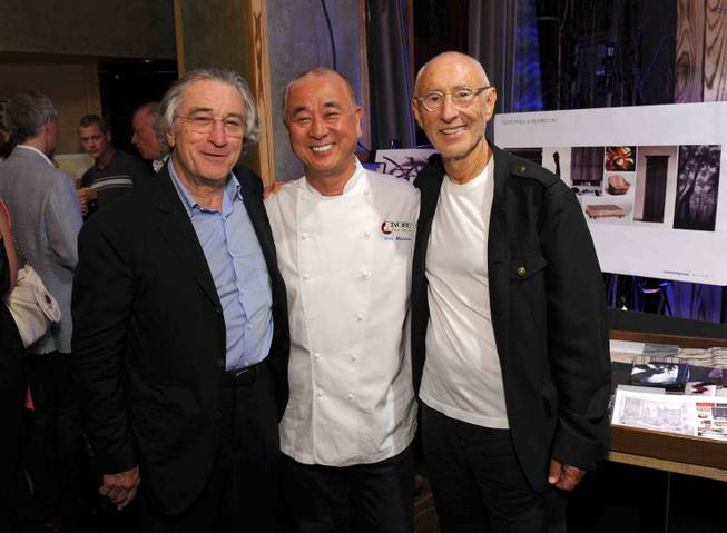 Robert De Niro, chef Nobu Matsuhisa and Meir Teper, partners of Nobu Hospitality, attend the announcement of the Nobu Hotel at Caesars Palace at Nobu in New York City on Sunday, June 10, 2012.