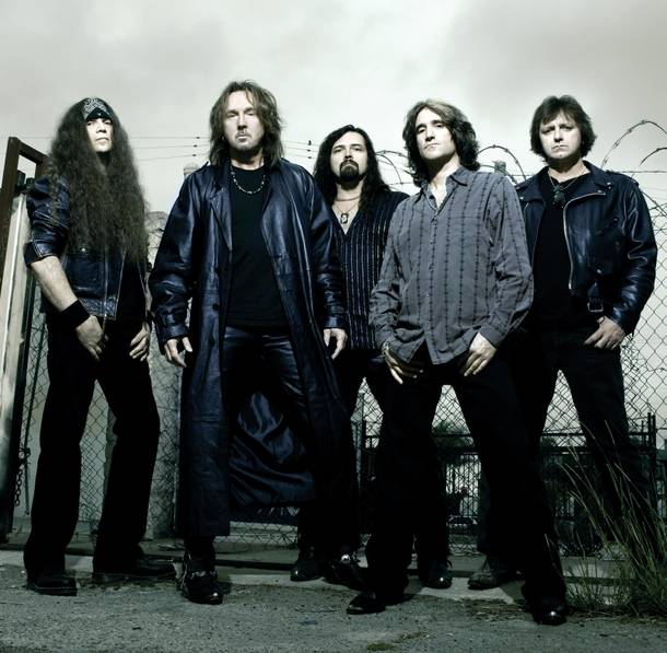 Hair transplant: Ron Keel, second from left, seen here in the band Keel, is now appearing in the Country Superstars show.