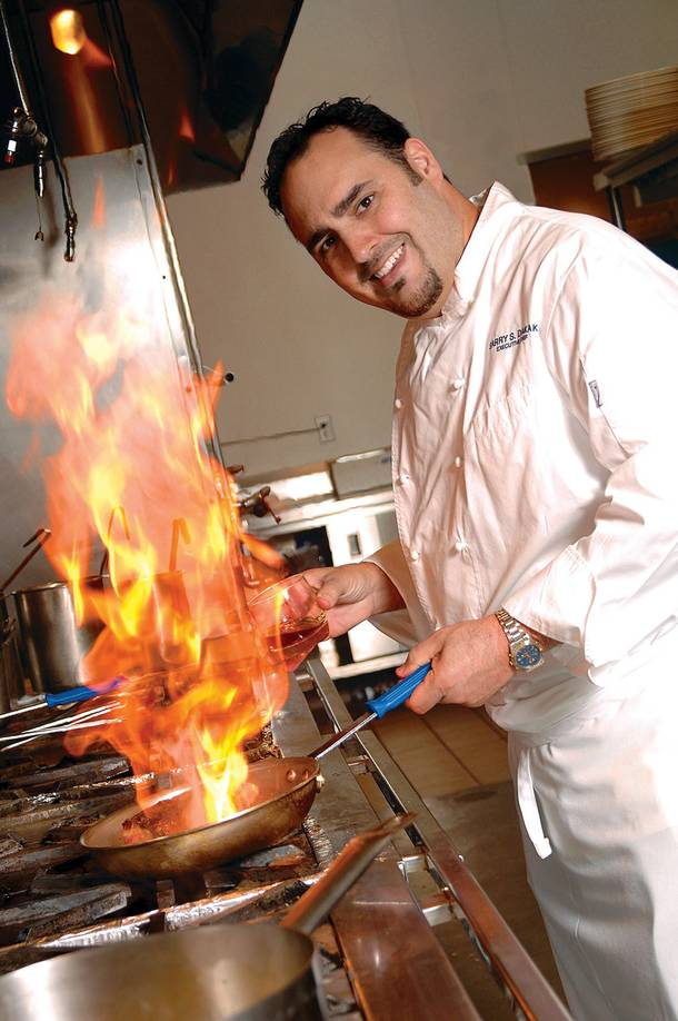 Chef Barry Dakake mans the kitchen at N9NE Steakhouse.