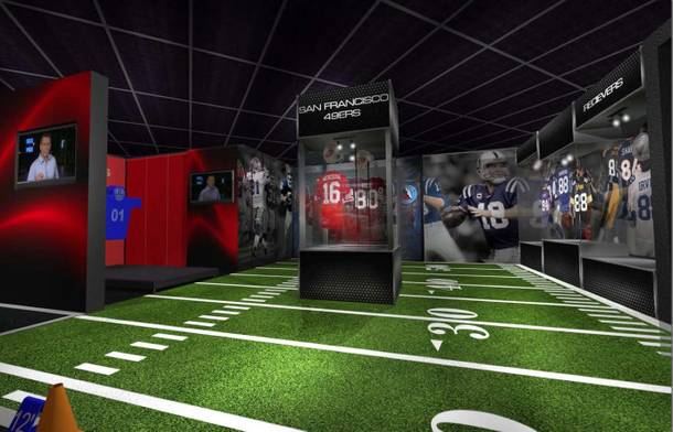 This rendering of the football area inside Score! illustrates how the attraction honors artifacts from some of America's favorite sports and individual athletes.