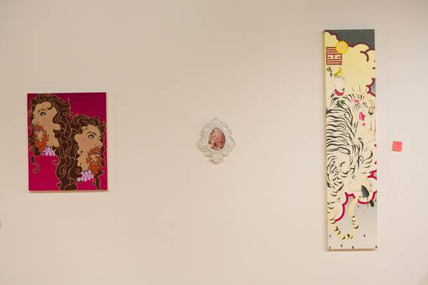 Works by James Gobel, Victoria Reynolds and Sush Machida at the Barrick Museum as part of the Las Vegas Art Museum collection.