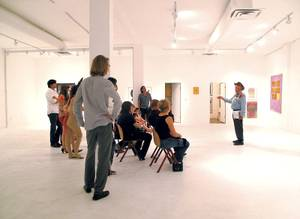 The art of campaigning: Lonnie Hammargren holds court at VAST Space Projects.