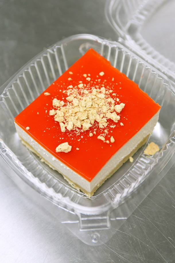 Kaba cheesecake has caramel extract, Nilla crust and Jell-O on top. We likey.