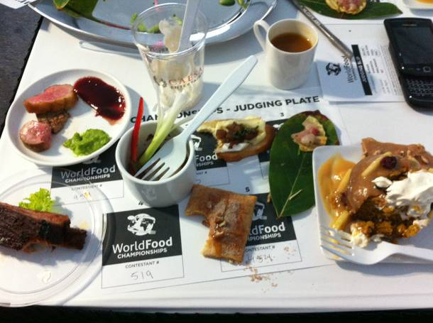 Here's what my judging space looked like after tasting six different dishes.