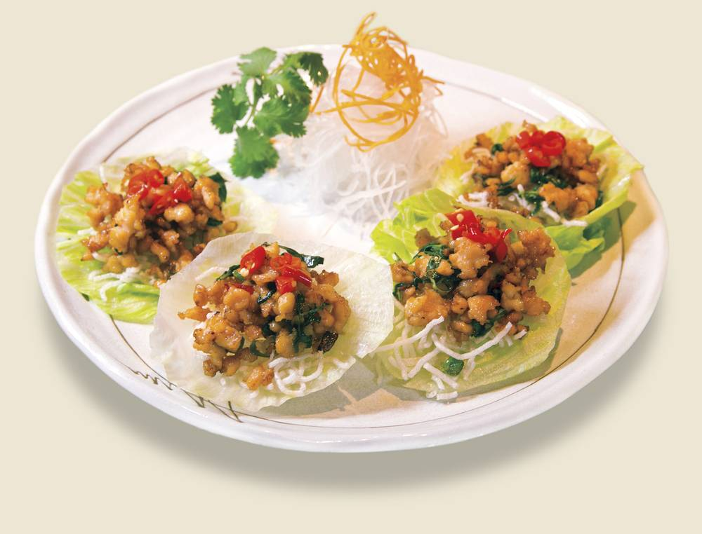 ... Asian flavors; consider the spicy Thai basil chicken lettuce wraps