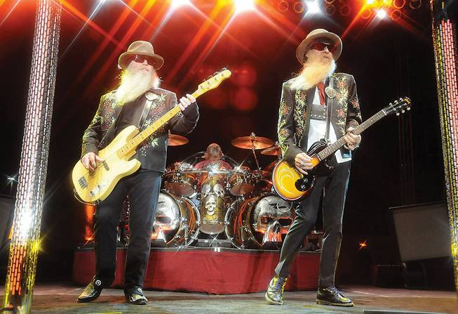 Dusty Hill, left, and the timeless trio ZZ Top will play two shows at the House of Blues.