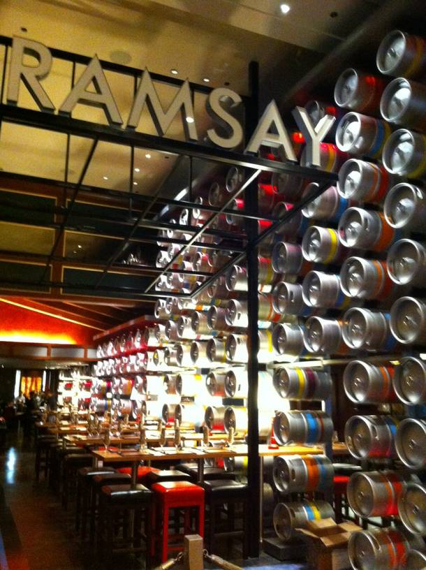 The welcoming wall of kegs proves Gordon Ramsay Pub & Grill is just about ready to open.